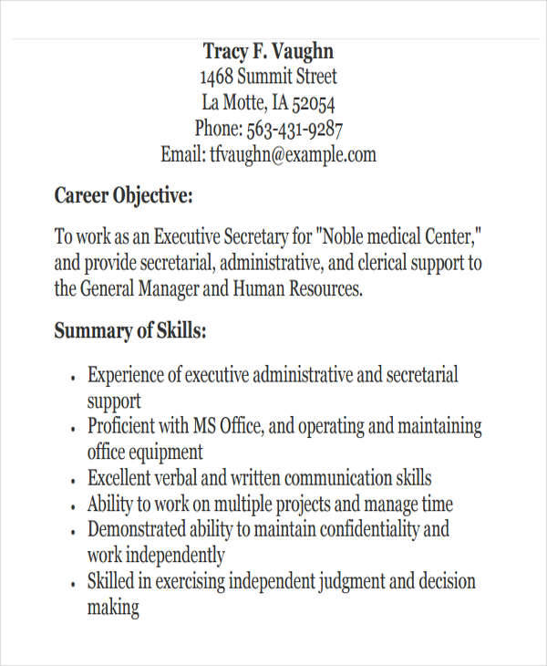 25 executive resumes in pdf - Secretary Objective For Resume Examples
