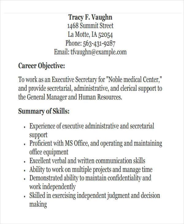 medical executive secretary