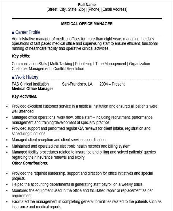 office manager resumes medical office manager - Office Manager Resume Samples