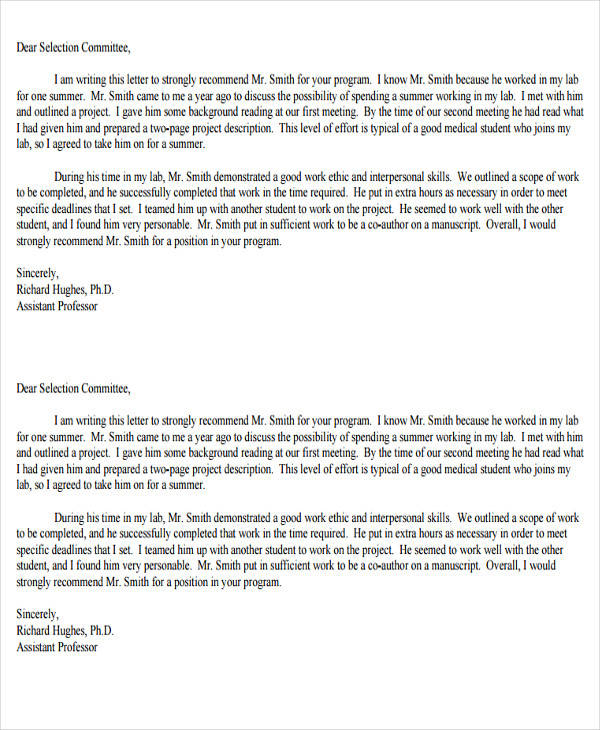 medical school letter of recommendation example 8 school recommendation letter pdf word 2187