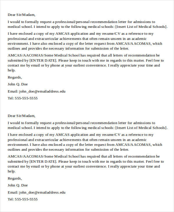 med school recommendation letter sample 8  Medical School Recommendation Letter Samples | Sample Templates
