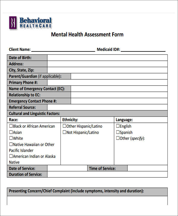 42 free assessment forms sample templates for Risk assessment template mental health