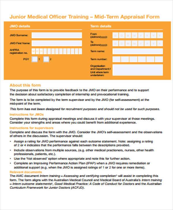 mid term appraisal form