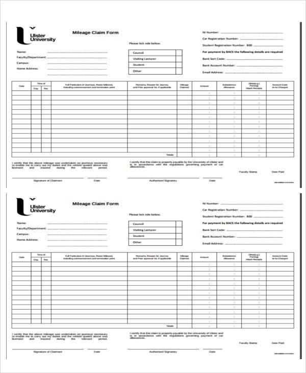 mileage allowance claim form