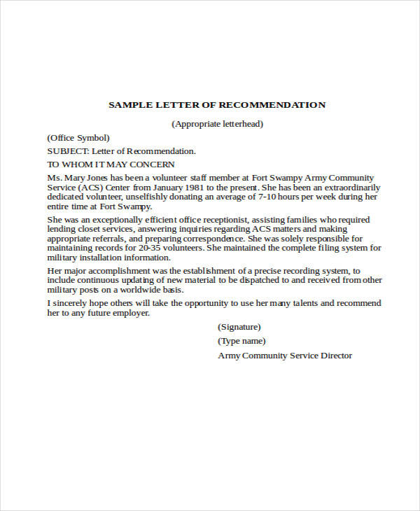 Military Letter Of Recommendation Military Letter Of Recommendation
