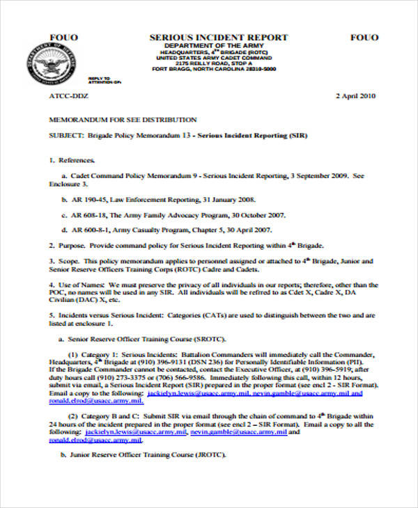 military incident report example