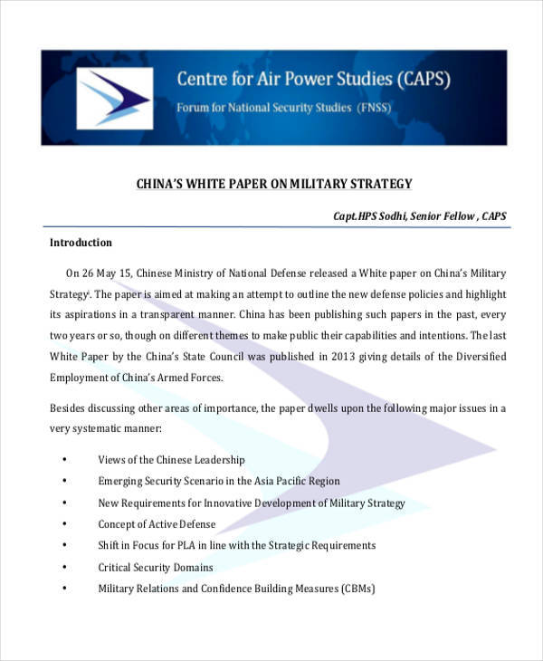 military strategy white paper