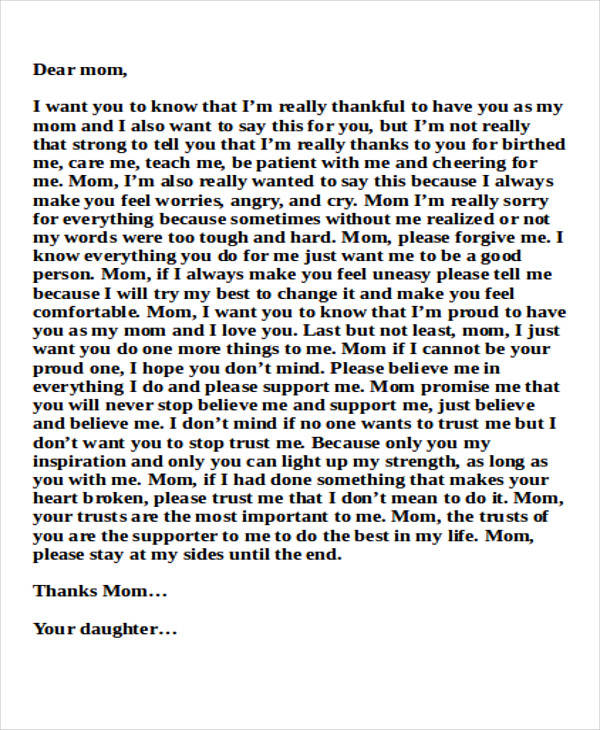Sample Mom Thank You Letter  Free Sample Example Format Download