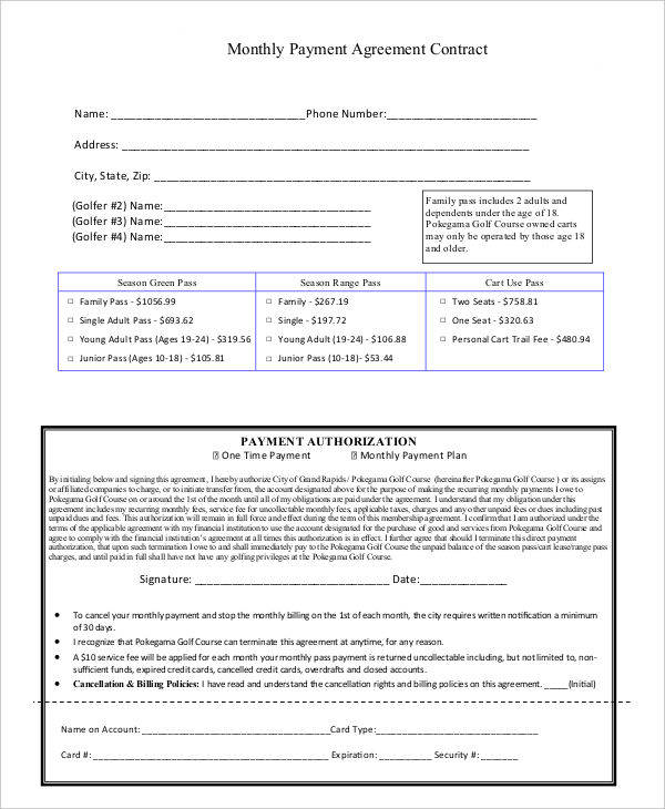 43 contract agreement formats sample templates for Monthly service contract template