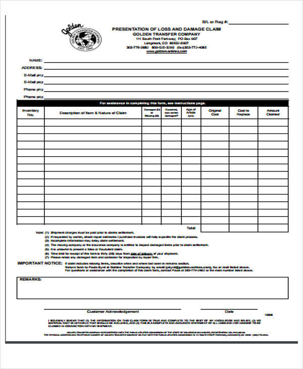 49 Claim Form Examples Sample Templates