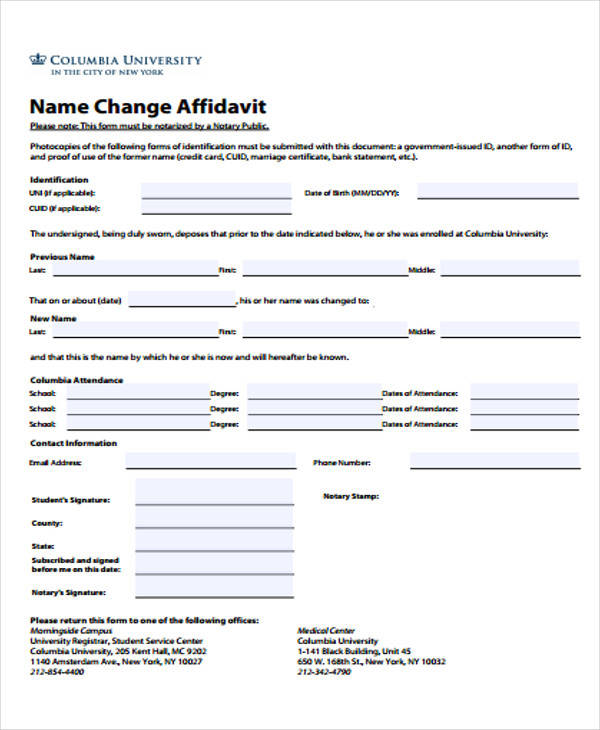 Sample Affidavit Forms