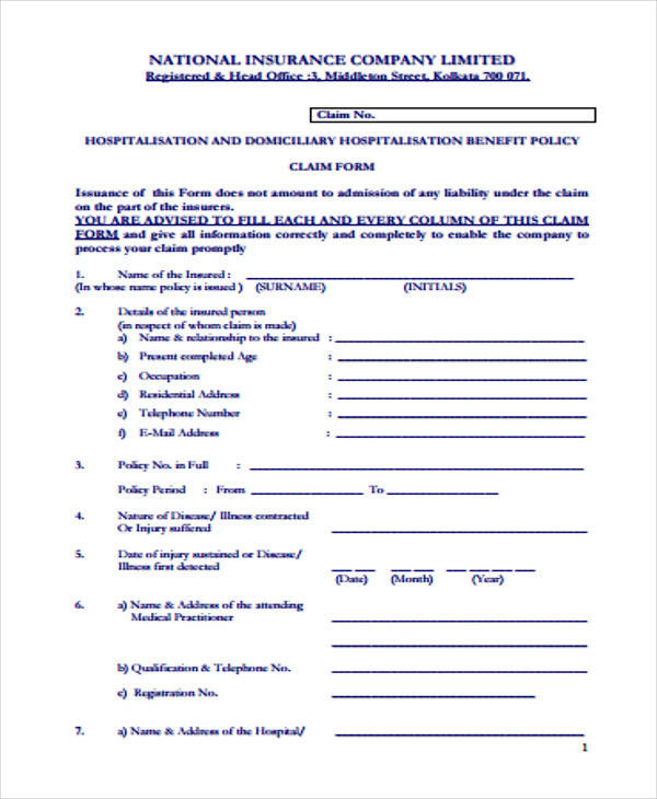 national insurance claim form1