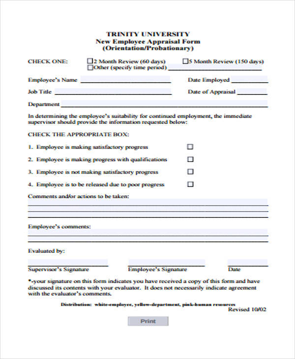 new employee appraisal form