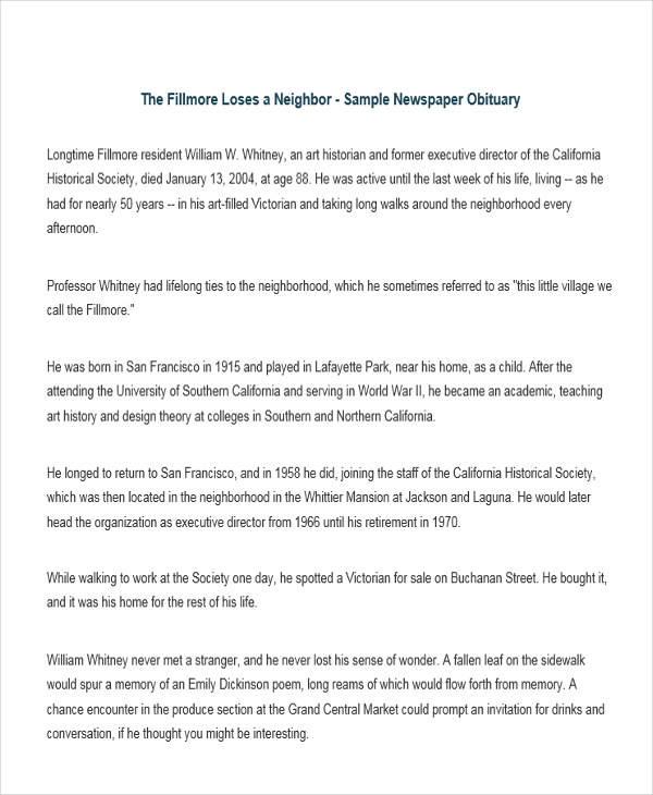 newspaper death obituary