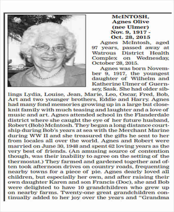 newspaper obituary thank you