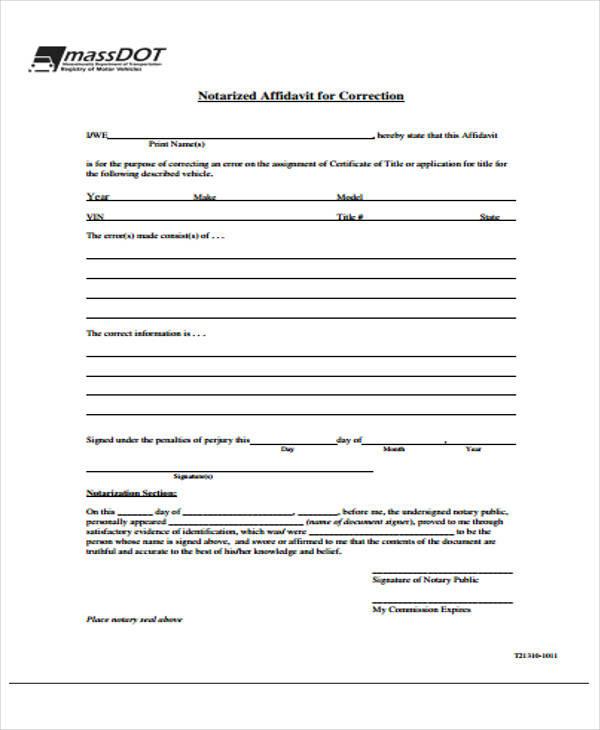 notary affidavit for correction form