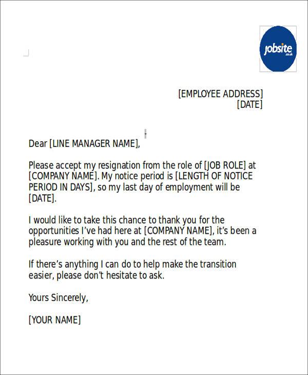 notice period letter