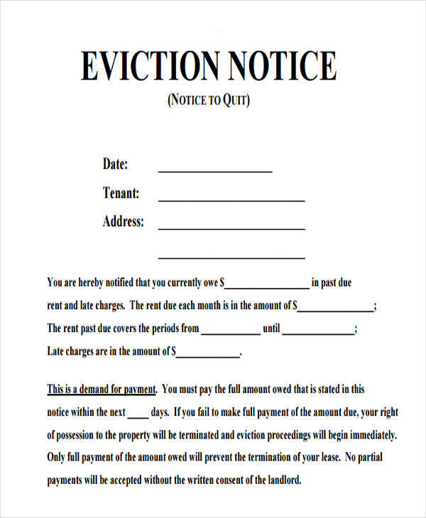 Charming Notice Of Eviction To Quit Intended How To Make A Eviction Notice