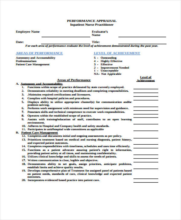 nurse appraisal form