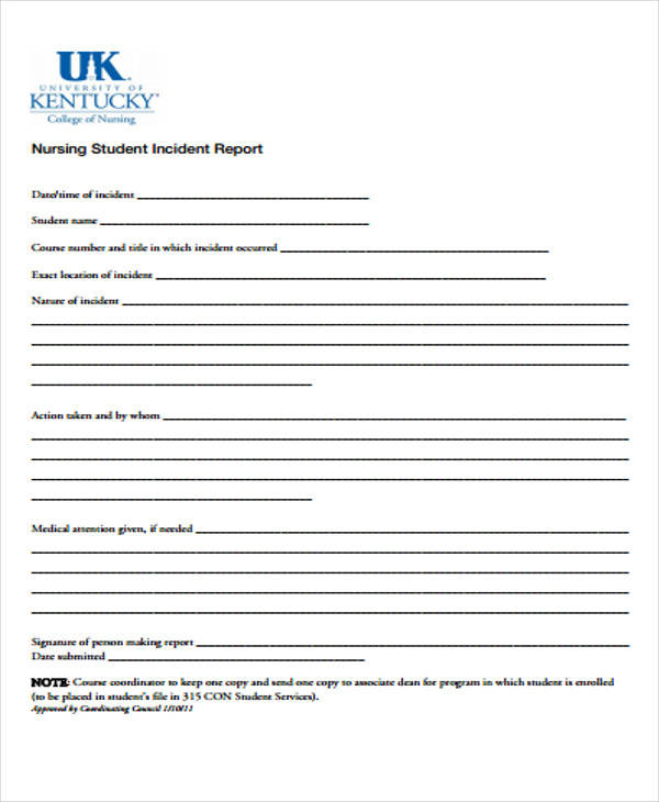 nursing student incident report