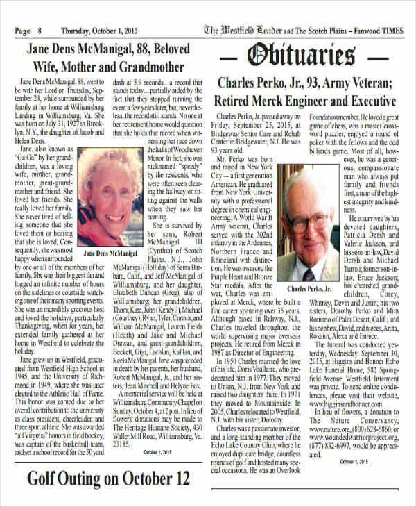 obituary classified ads