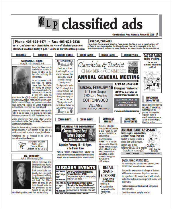 obituary classified ads2