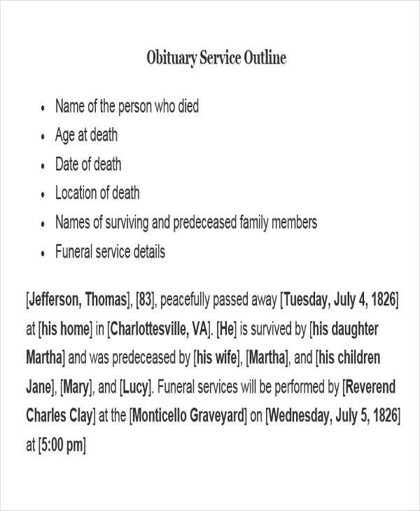 obituary service outline writing
