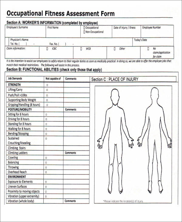 43 Free Assessment Forms – Fitness Assessment Form