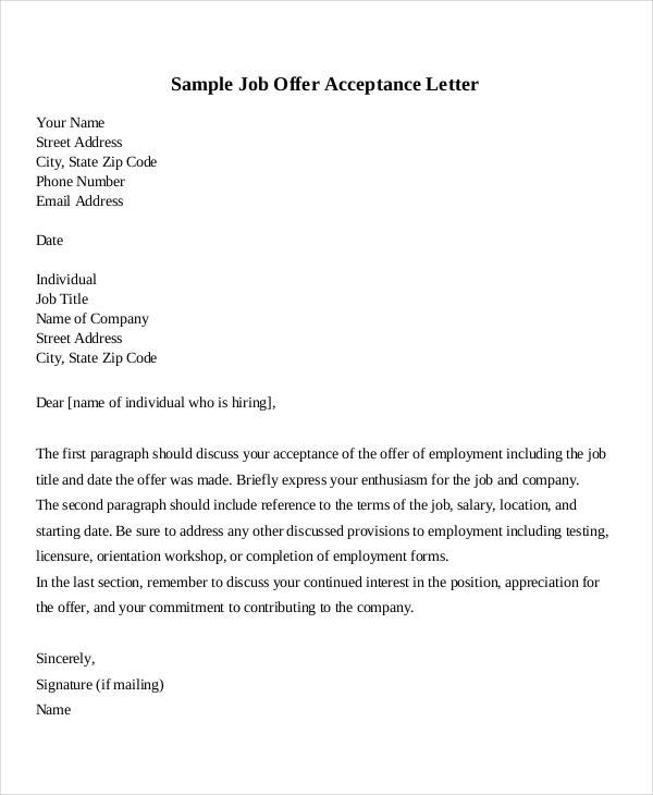 how to write a job acceptance letter
