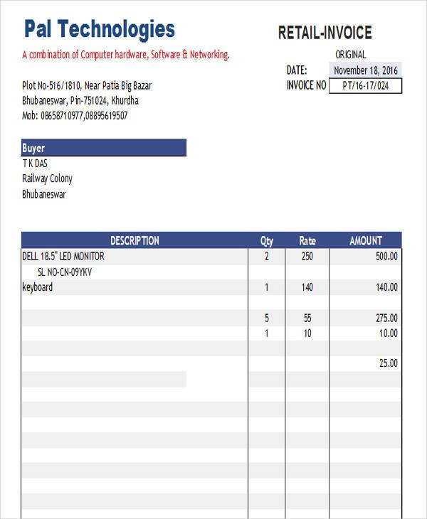 online retail invoice