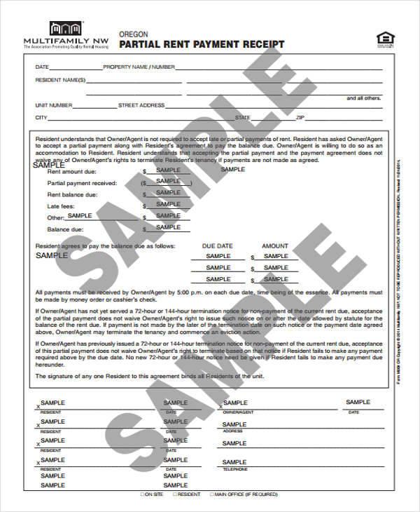 partial rent payment receipt