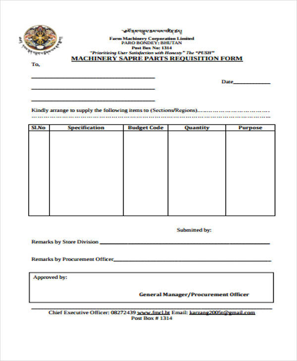 parts requisition form example