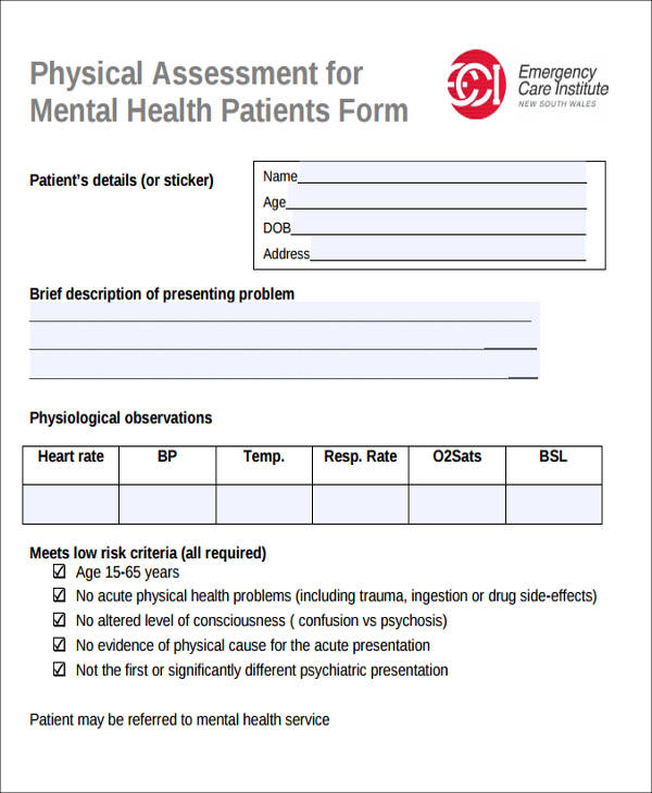 patient physical assessment form