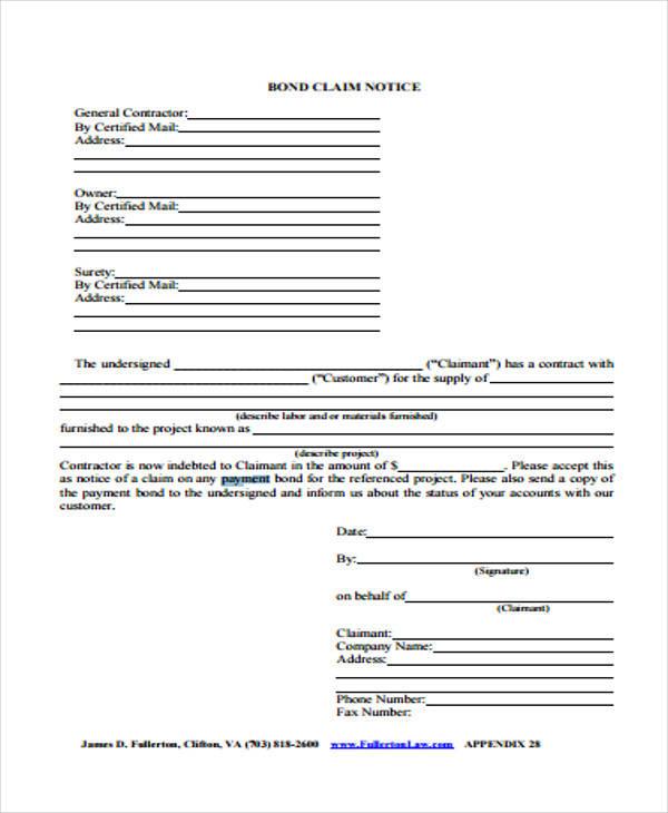 payment bond claim form