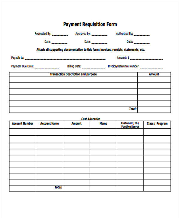 payment requisition form sample