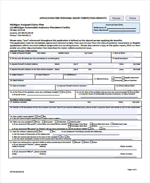 personal injury protection claim form