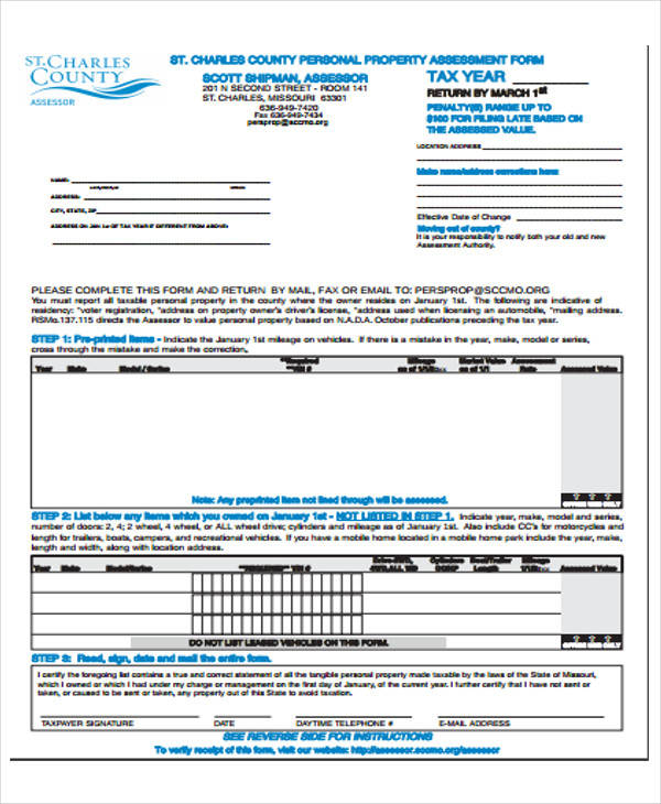 personal property appraisal form