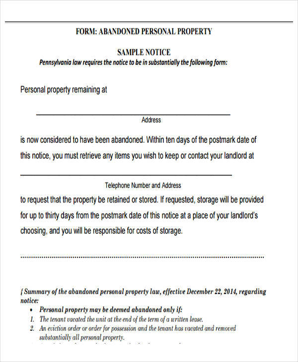 personal property eviction1