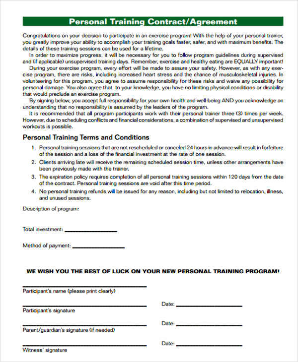 personal trainer agreement
