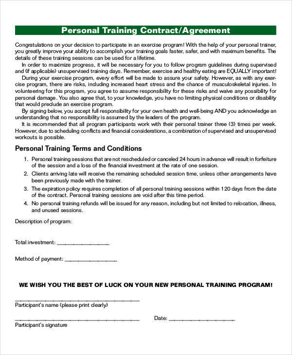 personal training contract agreement