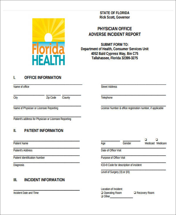 physician office incident report