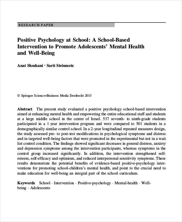 positive psychology research paper