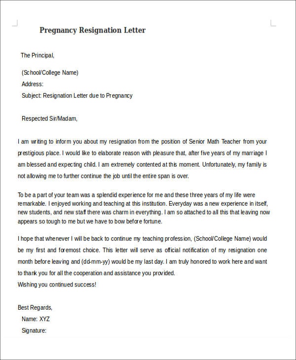 Resignation Letter Due To School
