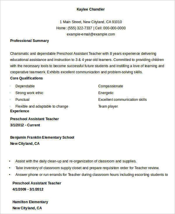 preschool assistant teacher resume