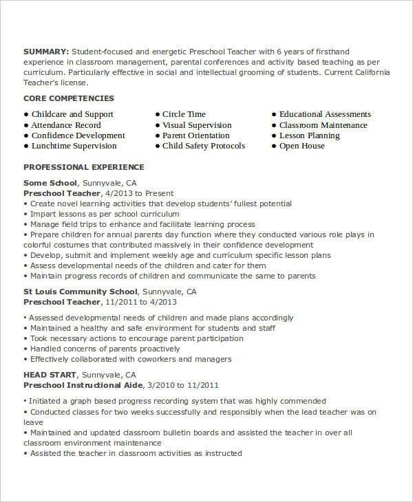 42 teacher resume formats