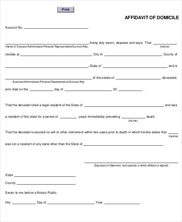 printable affidavit of domicile form