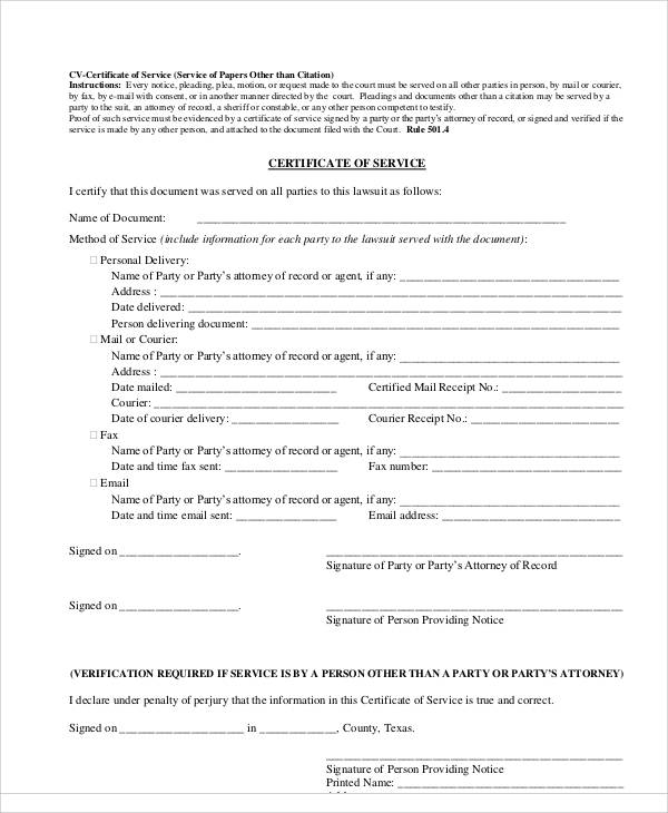 printable certificate of service form