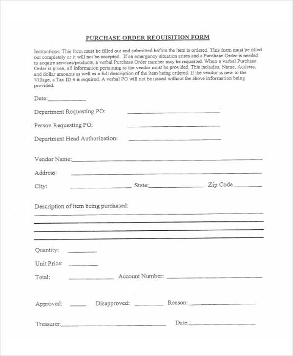 printable purchase requisition form