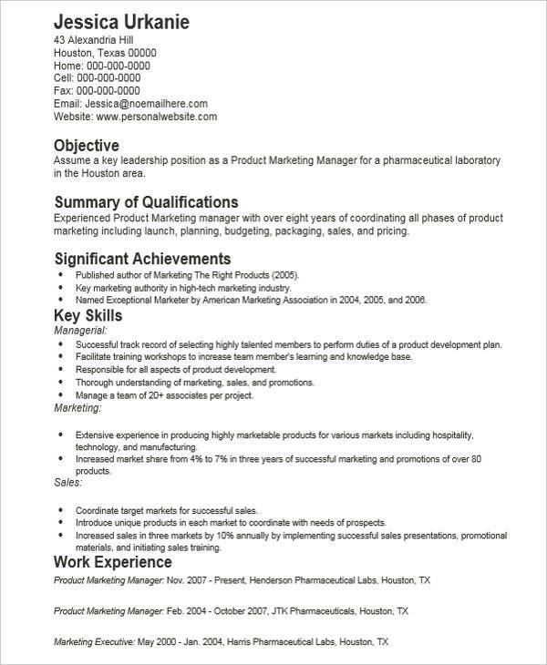 Product Marketing Resume  Product Marketing Resume