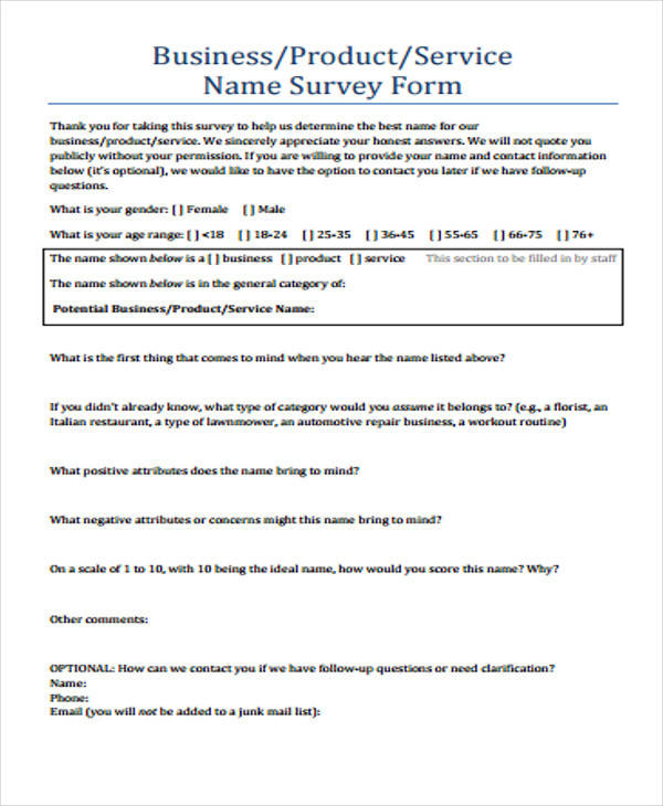 Product Survey Form Example